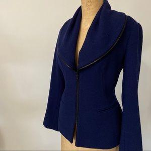 Navy Zip Blazer by Lafayette 148 NY. Size 10.